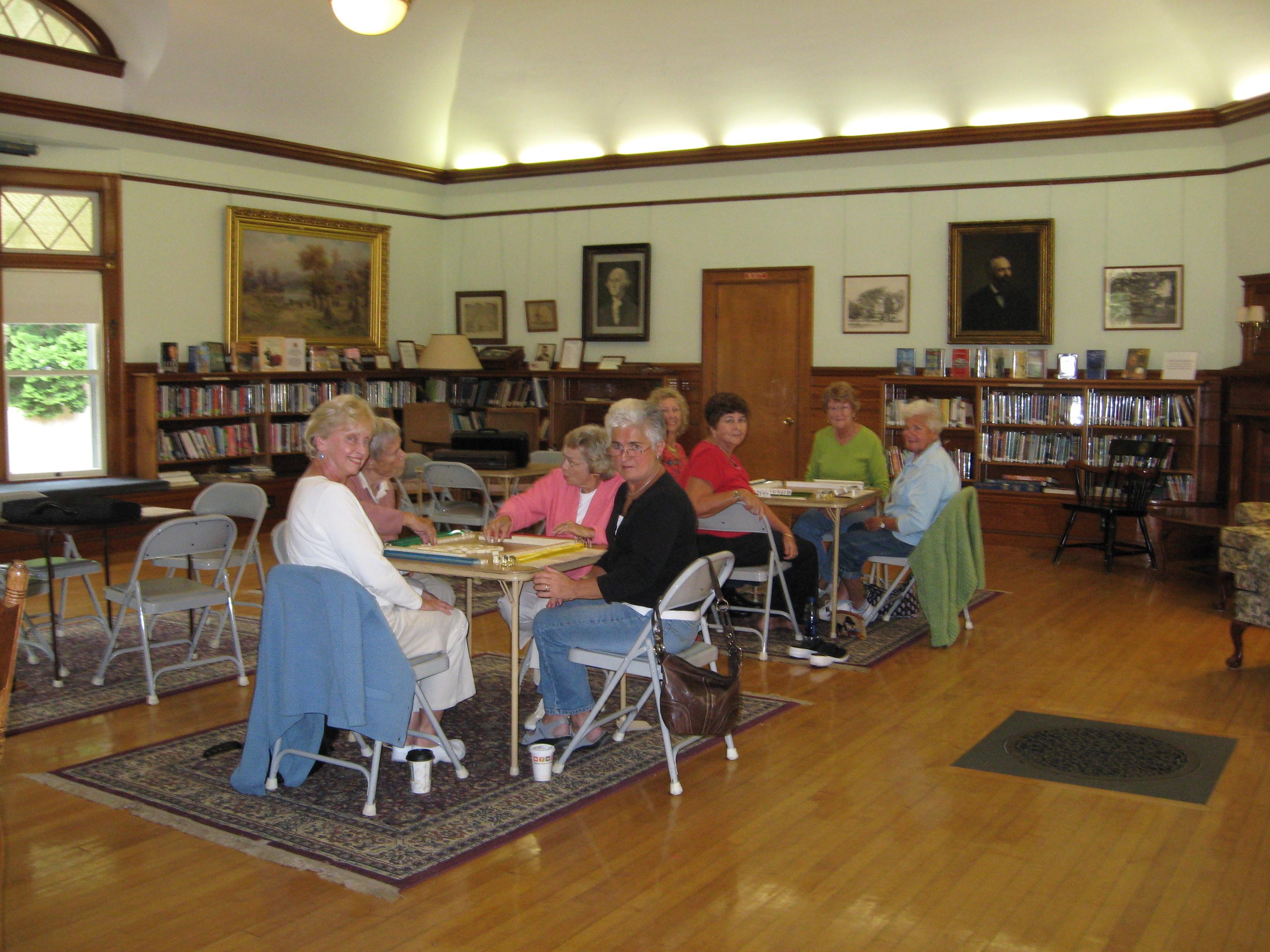 Playing mah jong at the West Falmouth Library