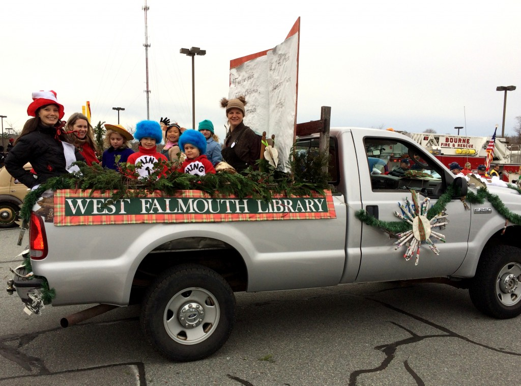 and the committee of volunteers both adults and children who created and decorated the librarys float for the falmouth christmas parade